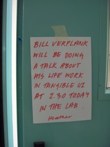 Announcement of a lecture by Bill Verplank.