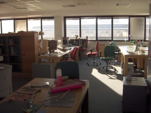 Morning view of desks before students come in.